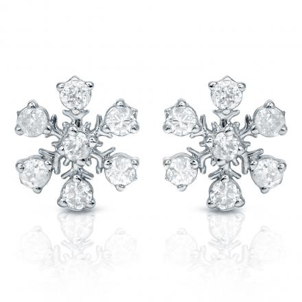 Certified 10k White Gold Snow Flake Round Diamond Earrings (1/3 cttw)