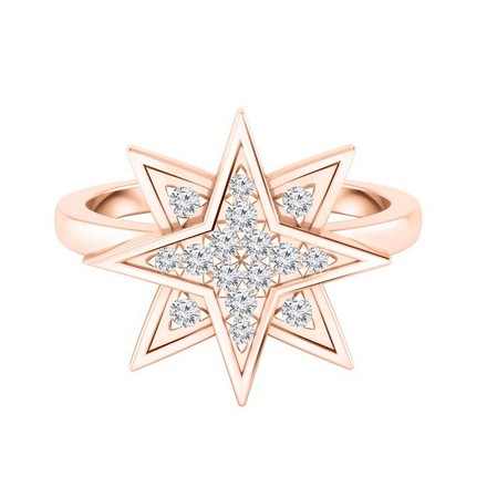 Certified 14k Rose Gold Star Shaped Diamond Ring 0.15 cttw