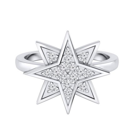Certified 14k White Gold Star Shaped Diamond Ring 0.15 cttw
