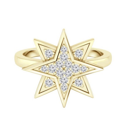 Certified 14k Yellow Gold Star Shaped Diamond Ring 0.15 cttw
