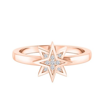 Certified 14k Rose Gold Star Shaped Diamond Ring 0.03 cttw