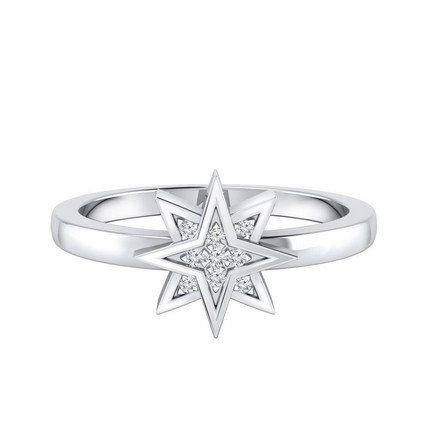 Certified 14k White Gold Star Shaped Diamond Ring 0.03 cttw