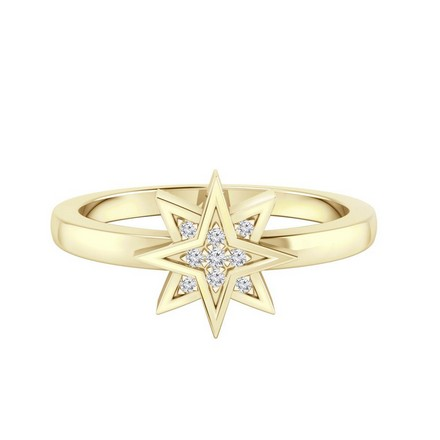 Certified 14k Yellow Gold Star Shaped Diamond Ring 0.03 cttw