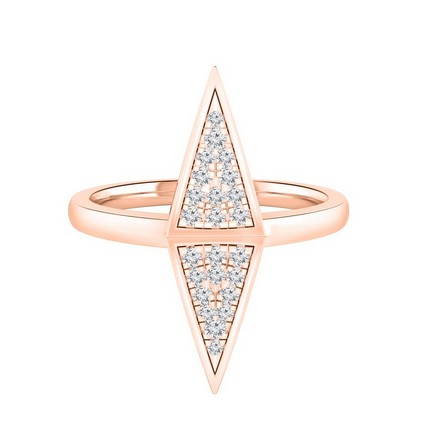 Certified 14k Rose Gold Triangle Shaped Diamond Ring 0.14 cttw