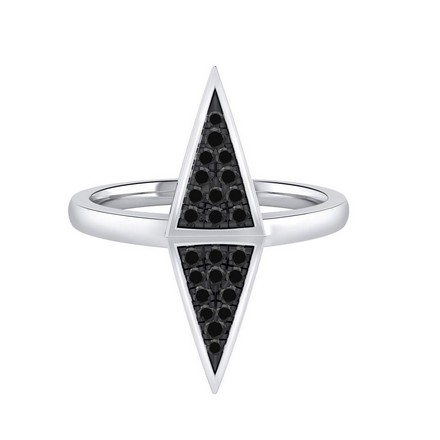 Certified 14k White Gold Triangle Shaped Black Diamond Ring 0.14 cttw