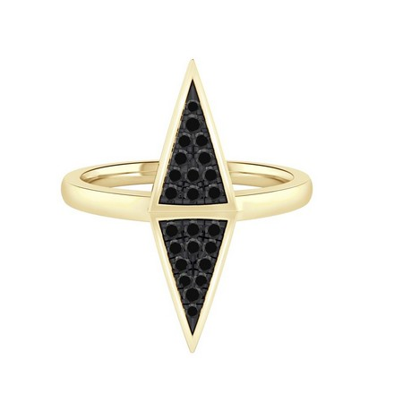 Certified 14k Yellow Gold Triangle Shaped Black Diamond Ring 0.14 cttw