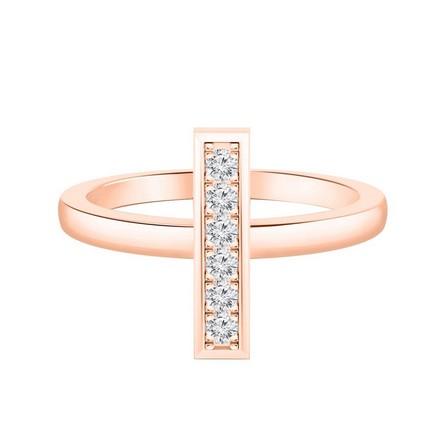 Certified 14k Rose Gold Bar Shaped Diamond Ring 0.10 cttw