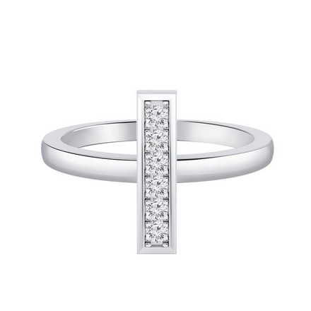 Certified 14k White Gold Bar Shaped Diamond Ring 0.10 cttw