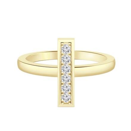 Certified 14k Yellow Gold Bar Shaped Diamond Ring 0.10 cttw