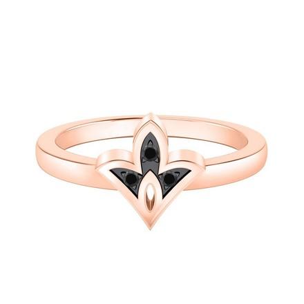 Certified 14k Rose Gold Spade Shaped Black Diamond Ring 0.03 cttw