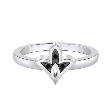 Certified 14k White Gold Spade Shaped Black Diamond Ring 0.03 cttw