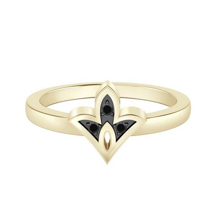 Certified 14k Yellow Gold Spade Shaped Black Diamond Ring 0.03 cttw