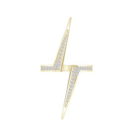 Certified 14k Yellow Gold Lightning Inspired Diamond Ring 0.18 cttw