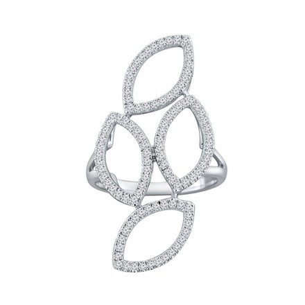 Certified 14k White Gold Fashion Geometric Diamond Ring 0.56 cttw