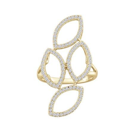 Certified 14k Yellow Gold Fashion Geometric Diamond Ring 0.56 cttw