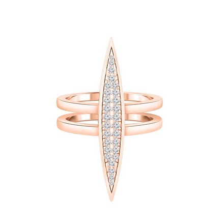 Certified 14k Rose Gold Bar Inspired Double Band Diamond Ring 0.20 cttw