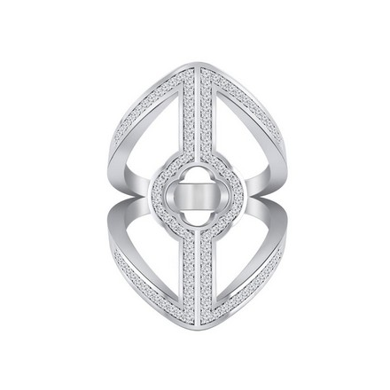 Certified 14k White Gold Split Shank Fashion Diamond Ring 0.55 cttw