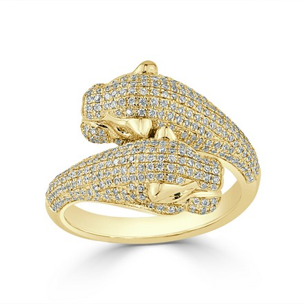 Certified 14k Yellow Gold Animal Fashion Emerald and Diamond Ring