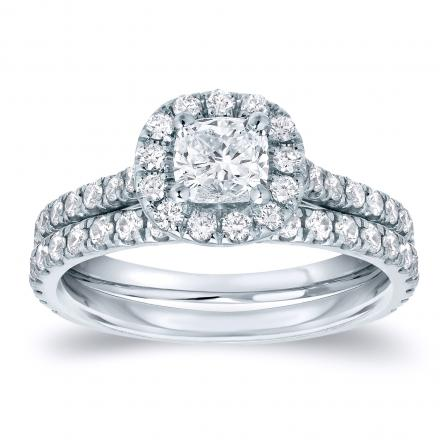 Cushion-Cut Diamond Wedding Ring Set in 14k White Gold 1.00 ct. tw. (G-H, SI1-SI2)