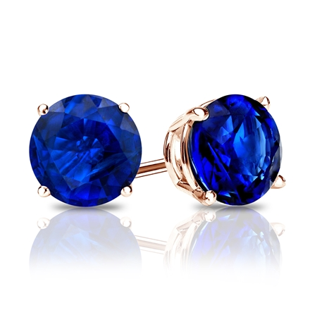 14k Rose Gold 4-Prong Basket Round Blue Sapphire Gemstone Stud Earrings 0.50 ct. tw.