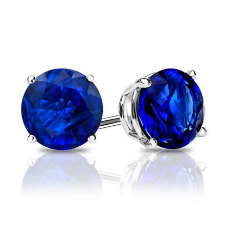 18k White Gold 4-Prong Basket Round Blue Sapphire Gemstone Stud Earrings 0.50 ct. tw.