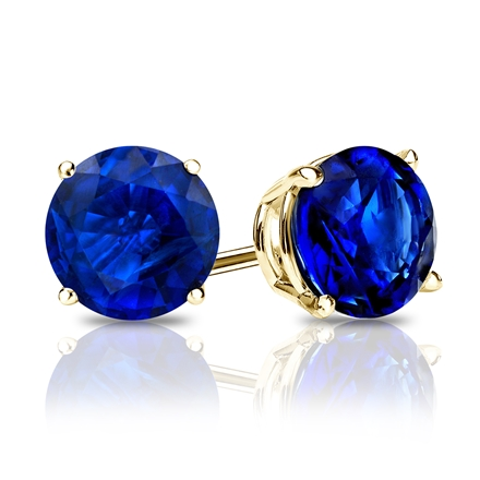 Blue Sapphire Gemstone Stud EarringsRound 1.00 ct. tw.in 14K Yellow Gold 4-Prong Basket