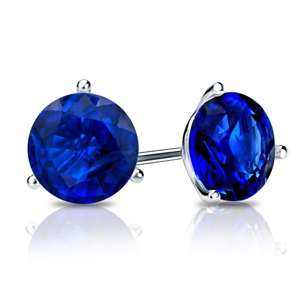 18k White Gold 3-Prong Martini Round Blue Sapphire Gemstone Stud Earrings 0.75 ct. tw.