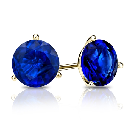 14k Yellow Gold 3-Prong Martini Round Blue Sapphire Gemstone Stud Earrings 0.25 ct. tw.