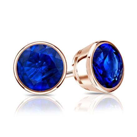 14k Rose Gold Bezel Round Blue Sapphire Gemstone Stud Earrings 0.33 ct. tw.