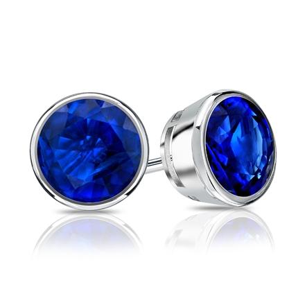 Platinum Bezel Round Blue Sapphire Gemstone Stud Earrings 0.25 ct. tw.