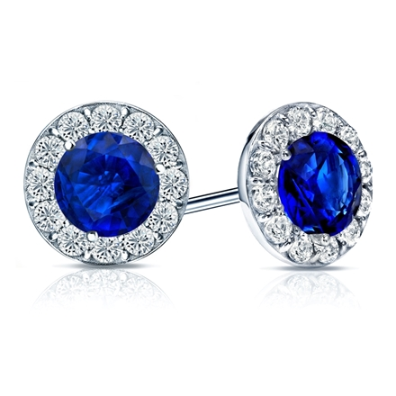 18k White Gold Halo Round Blue Sapphire Gemstone Earrings 0.50 ct. tw.