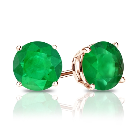 14k Rose Gold 4-Prong Basket Round Green Emerald Gemstone Stud Earrings 1.00 ct. tw.