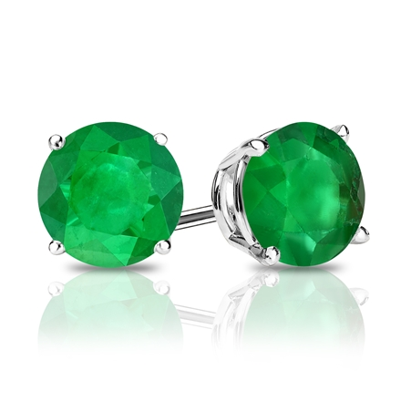 18k White Gold 4-Prong Basket Round Green Emerald Gemstone Stud Earrings 2.00 ct. tw.