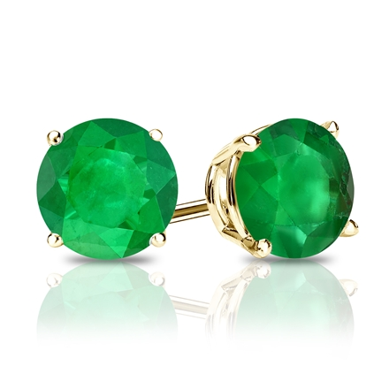 18k Yellow Gold 4-Prong Basket Round Green Emerald Gemstone Stud Earrings 0.33 ct. tw.
