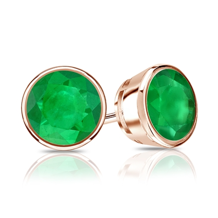 14k Rose Gold Bezel Round Green Emerald Gemstone Stud Earrings 1.25 ct. tw.