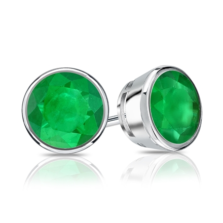 14k White Gold Bezel Round Green Emerald Gemstone Stud Earrings 0.33 ct. tw.