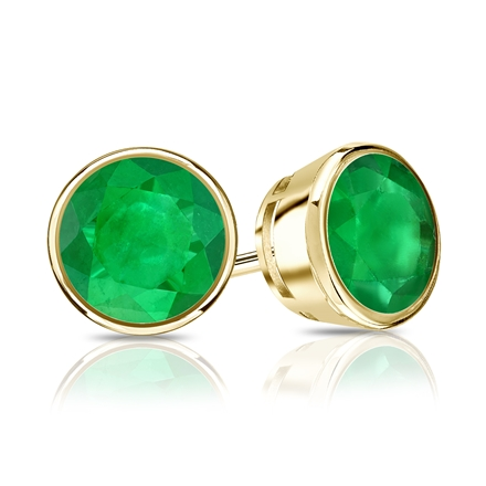 18k Yellow Gold Bezel Round Green Emerald Gemstone Stud Earrings 1.25 ct. tw.