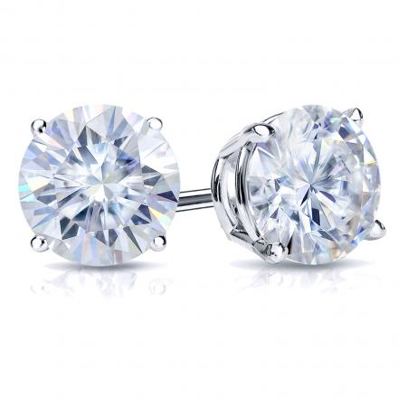 Moissanite Stud Earrings Round 2.00 ct TGW, 6.5mm (G-H, VS1-VS2) 4-Prong Basket 14k White Gold
