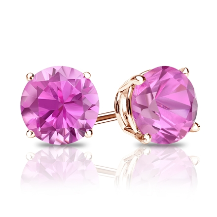 14k Rose Gold 4-Prong Basket Round Pink Sapphire Gemstone Stud Earrings 0.33 ct. tw.