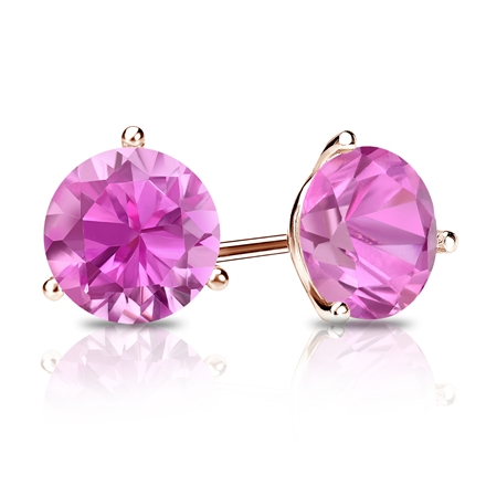 14k Rose Gold 3-Prong Martini Round Pink Sapphire Gemstone Stud Earrings 1.00 ct. tw.