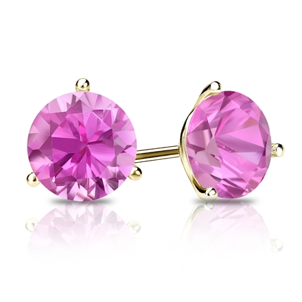 18k Yellow Gold 3-Prong Martini Round Pink Sapphire Gemstone Stud Earrings 0.25 ct. tw.