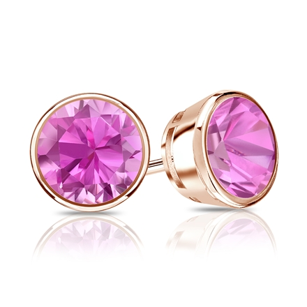 14k Rose Gold Bezel Round Pink Sapphire Gemstone Stud Earrings 0.50 ct. tw.