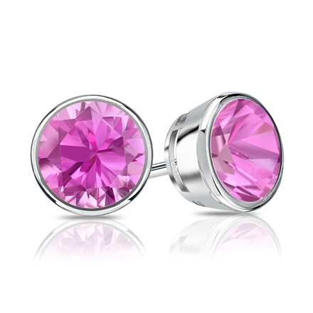 14k White Gold Bezel Round Pink Sapphire Gemstone Stud Earrings 0.25 ct. tw.