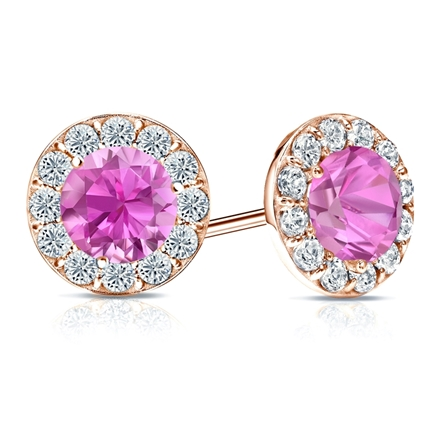 14k Rose Gold Halo Round Pink Sapphire Gemstone Earrings 2.00 ct. tw.