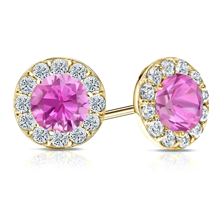 14k Yellow Gold Halo Round Pink Sapphire Gemstone Earrings 0.50 ct. tw.