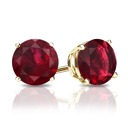 18k Yellow Gold 4-Prong Basket Round Ruby Gemstone Stud Earrings 0.50 ct. tw.