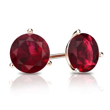 14k Rose Gold 3-Prong Martini Round Ruby Gemstone Stud Earrings 0.75 ct. tw.