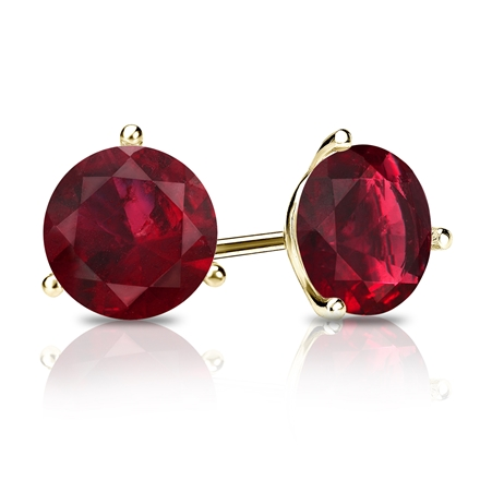 18k Yellow Gold 3-Prong Martini Round Ruby Gemstone Stud Earrings 0.25 ct. tw.
