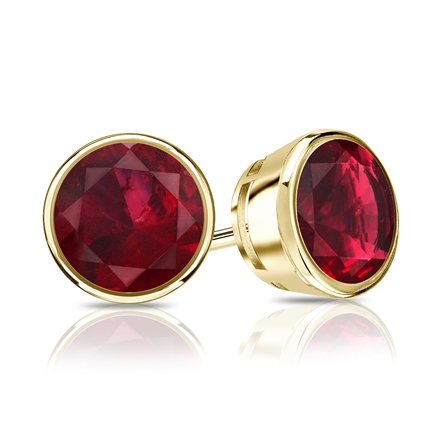 14k Yellow Gold Bezel Round Ruby Gemstone Stud Earrings 0.33 ct. tw.