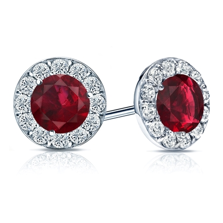 14k White Gold Halo Round Ruby Gemstone Earrings 3.00 ct. tw.
